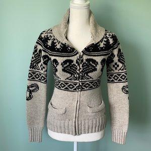 GUC TNA Full Zip Lambswool Knit Sweater